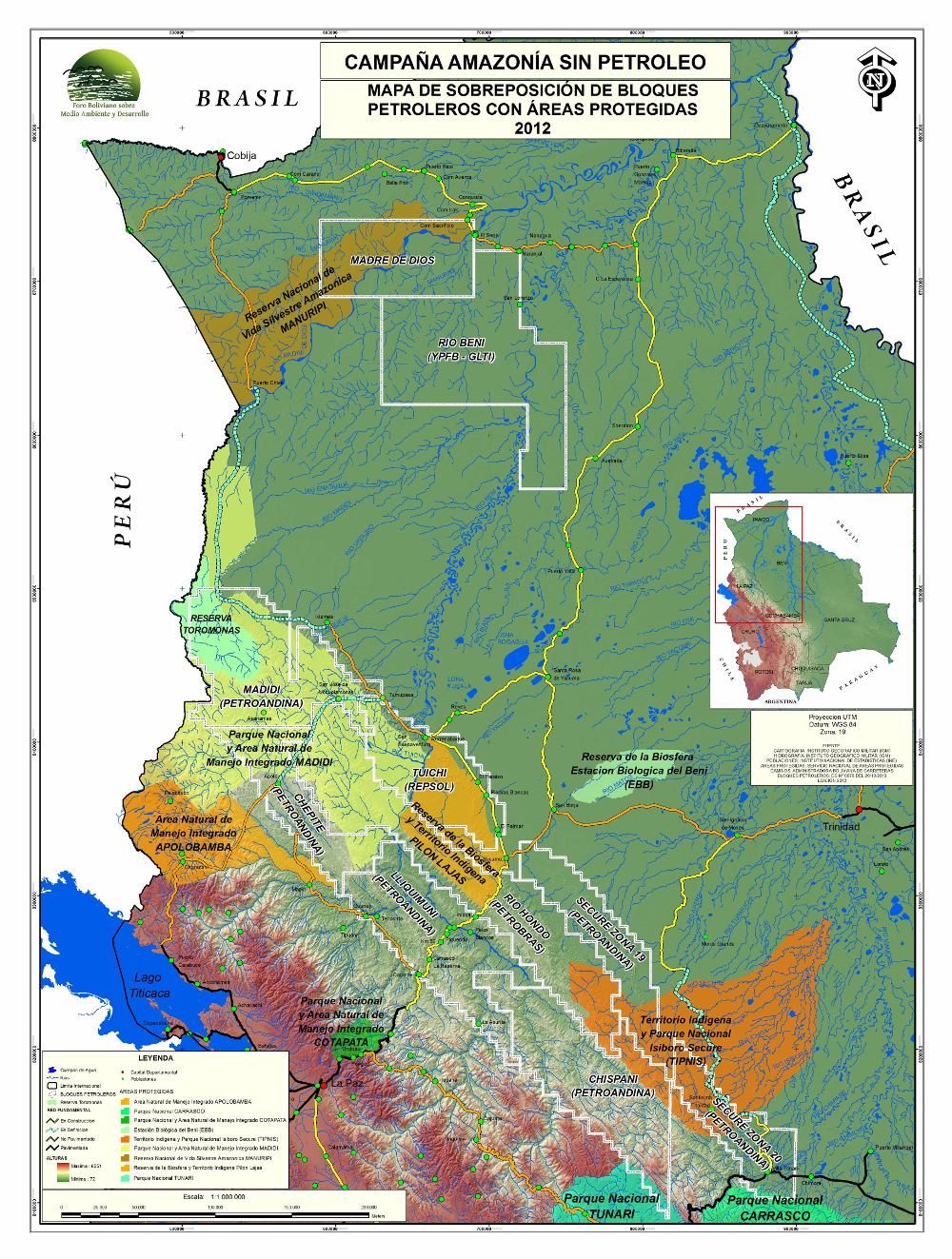 Campaña Amazonía sin Petroleo Mapa de sobreposición de bloques petroleros con áreas protegidas