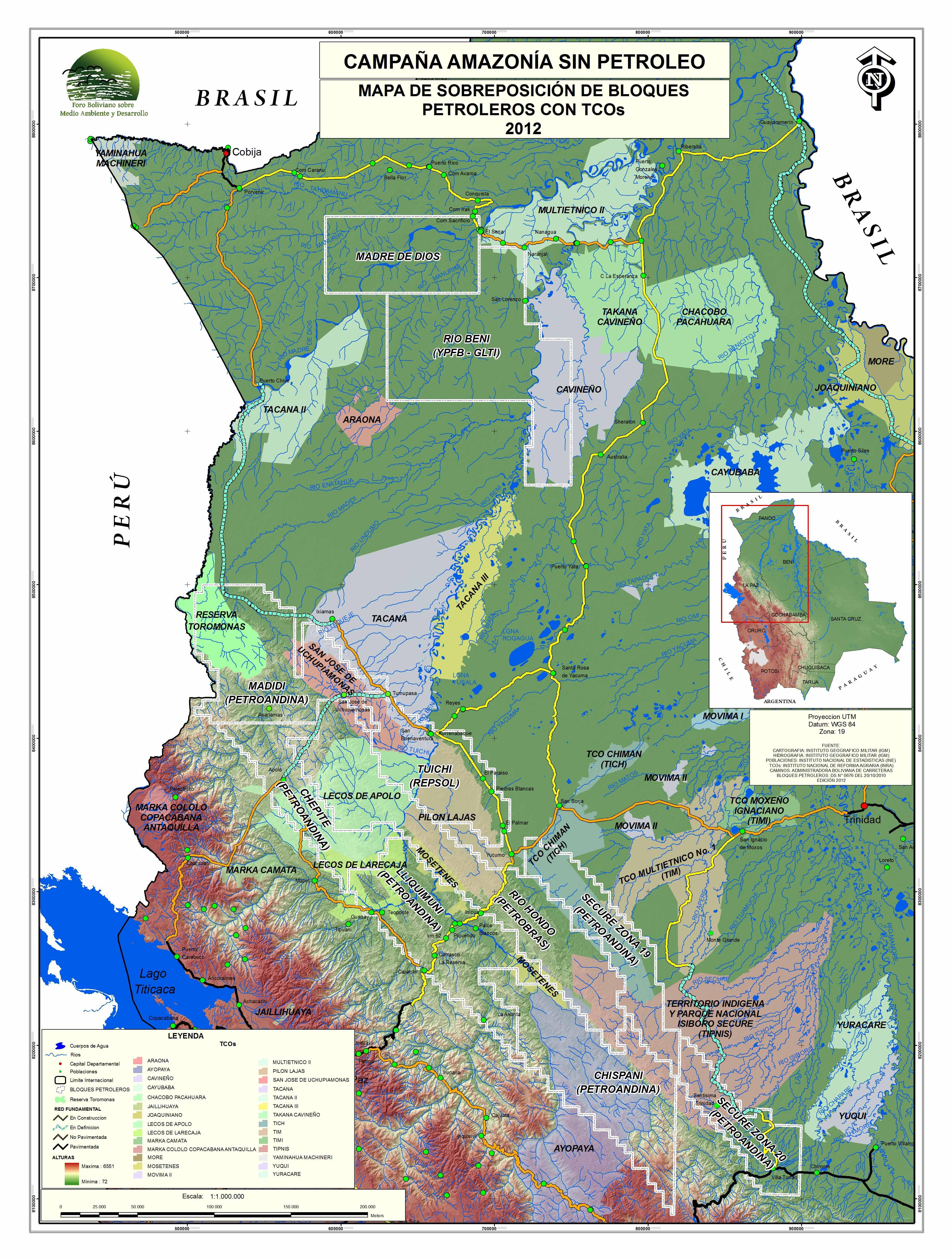 Campaña Amazonía sin Petroleo: Mapa de sobreposición de bloques petroleros con TCOs